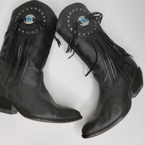 Vtg Zodiac Black Leather Western Style Boots 6.5MB